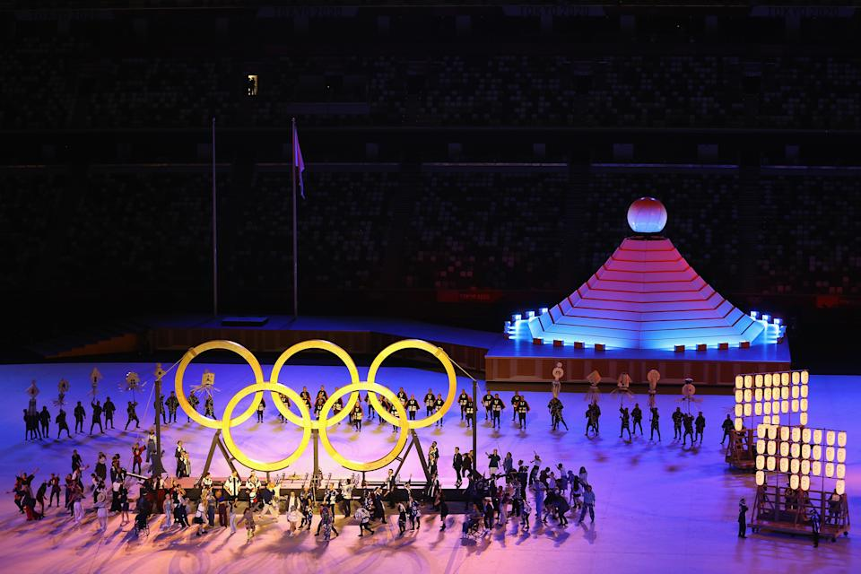 Seen here, A general view as the Olympic Rings and cauldron are seen on stage during the opening ceremony.