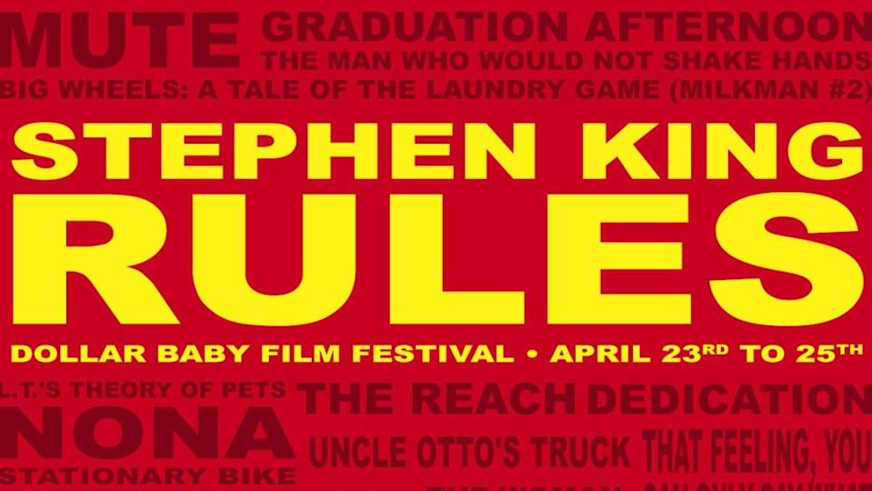 photo with red background and yellow letters saying Stephen King Rules for Dollar Baby Festival