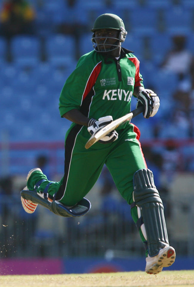 Steve Tikolo of Kenya runs between the wickets during the ICC Cricket World Cup Group C match between Canada and Kenya at the Beausejour Cricket Ground on March 14, 2007 in Gros Islet, Saint Lucia.  (Photo by Clive Mason/Getty Images)