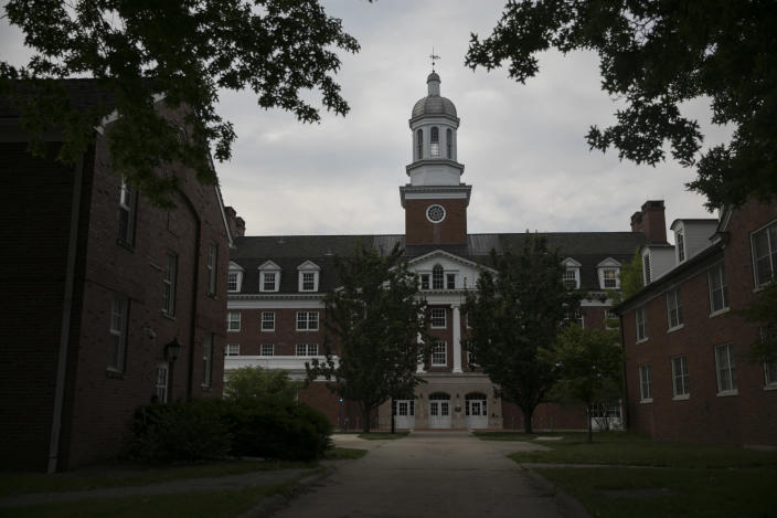 Dorms on East Green at Ohio University in Athens, Ohio, June 21, 2020. (Maddie McGarvey/The New York Times)