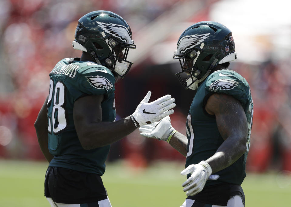 Philadelphia Eagles running backs Wendell Smallwood (left) and Corey Clement (right) are priority pickups with Jay Ajayi suffering a season-ending injury. (AP Photo/Chris O'Meara)
