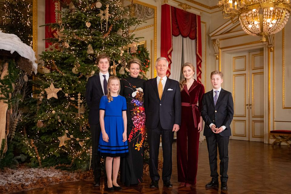 BRUSSELS, BELGIUM - DECEMBER 18: (L-R) Prince Gabriel, Princess Eleonore, Queen Mathilde, King Philippe of Belgium, Princess Elisabeth and Prince Emmanuel attend the Christmas Concert at the Royal Palace on December 18, 2019 in Brussels, Belgium. (Photo by Olivier Matthys/Getty Images)