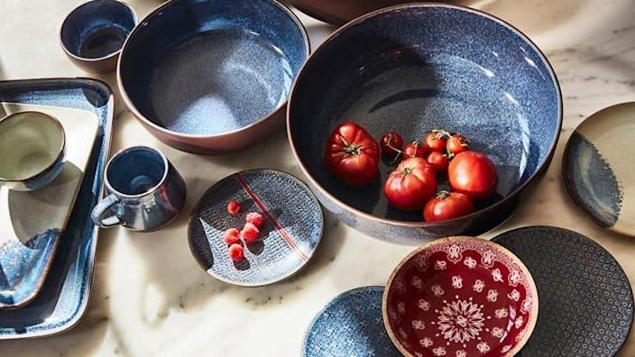 Sustainably-sourced dishware featured in the collaborative new Levi's X Target home collection.