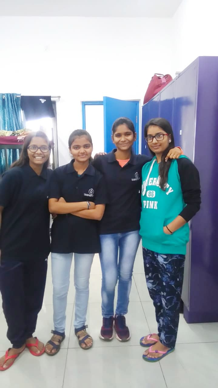 Charul with her roommates at DAKSHANA