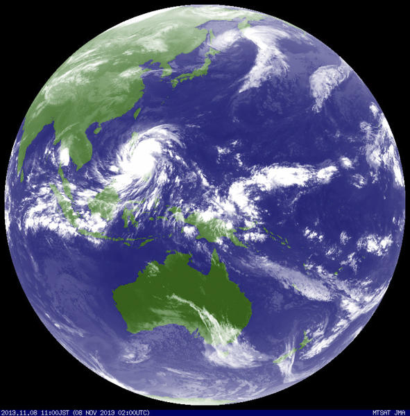 Typhoon Haiyan hits the Philippines in this weather satellite image, courtesy of the Japan Meteorological Agency, taken at 0200 UTC November 8, 2013. Haiyan, potentially the strongest recorded typhoon to make landfall, slammed into the Philippines' central islands on Friday, forcing millions of people to flee to safer ground or take refuge in storm shelters. The category-five super typhoon whipped up giant waves as high as 4-5 metres (12-15 feet) that lashed the islands of Leyte and Samar, and was on track to carve a path through popular holiday destinations. REUTERS/Japan Meteorological Agency/MTSAT/Handout via Reuters (JAPAN - Tags: DISASTER ENVIRONMENT) FOR EDITORIAL USE ONLY. NOT FOR SALE FOR MARKETING OR ADVERTISING CAMPAIGNS. THIS IMAGE HAS BEEN SUPPLIED BY A THIRD PARTY. IT IS DISTRIBUTED, EXACTLY AS RECEIVED BY REUTERS, AS A SERVICE TO CLIENTS