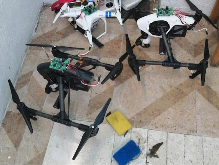 Mexican drug cartels use drones to further their aims. These drones were seized by the attorney general of Mexico in Puebla in 2020.