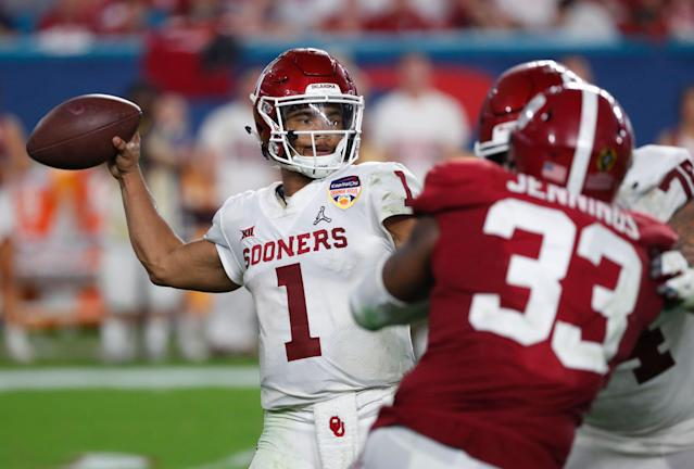Oklahoma quarterback Kyler Murray is the most talked-about player in the 2019 NFL draft. (AP)