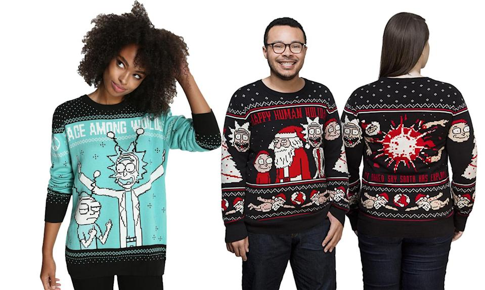 """<p>Some say Merry Christmas, others say Happy Human Holiday. Either way, you do it in style — ish — in these sweaters. <strong>Buy <a rel=""""nofollow noopener"""" href=""""http://www.boxlunch.com/product/rick-and-morty-world-peace-ugly-holiday-sweater/11053273.html#q=christmas%2Bsweater&start=1"""" target=""""_blank"""" data-ylk=""""slk:here"""" class=""""link rapid-noclick-resp"""">here</a> and <a rel=""""nofollow noopener"""" href=""""http://www.thinkgeek.com/product/jirg/"""" target=""""_blank"""" data-ylk=""""slk:here"""" class=""""link rapid-noclick-resp"""">here</a></strong> </p>"""