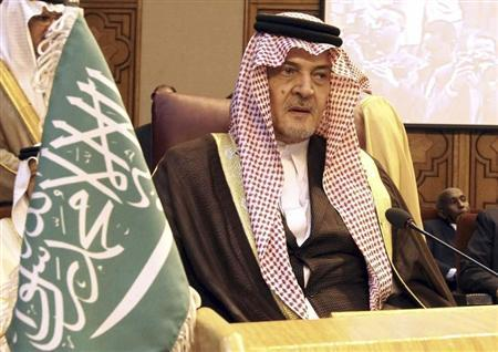 Saudi Arabia's Foreign Minister Prince Saud al-Faisal attends the opening of an Arab foreign ministers emergency meeting at the Arab League headquarters in Cairo