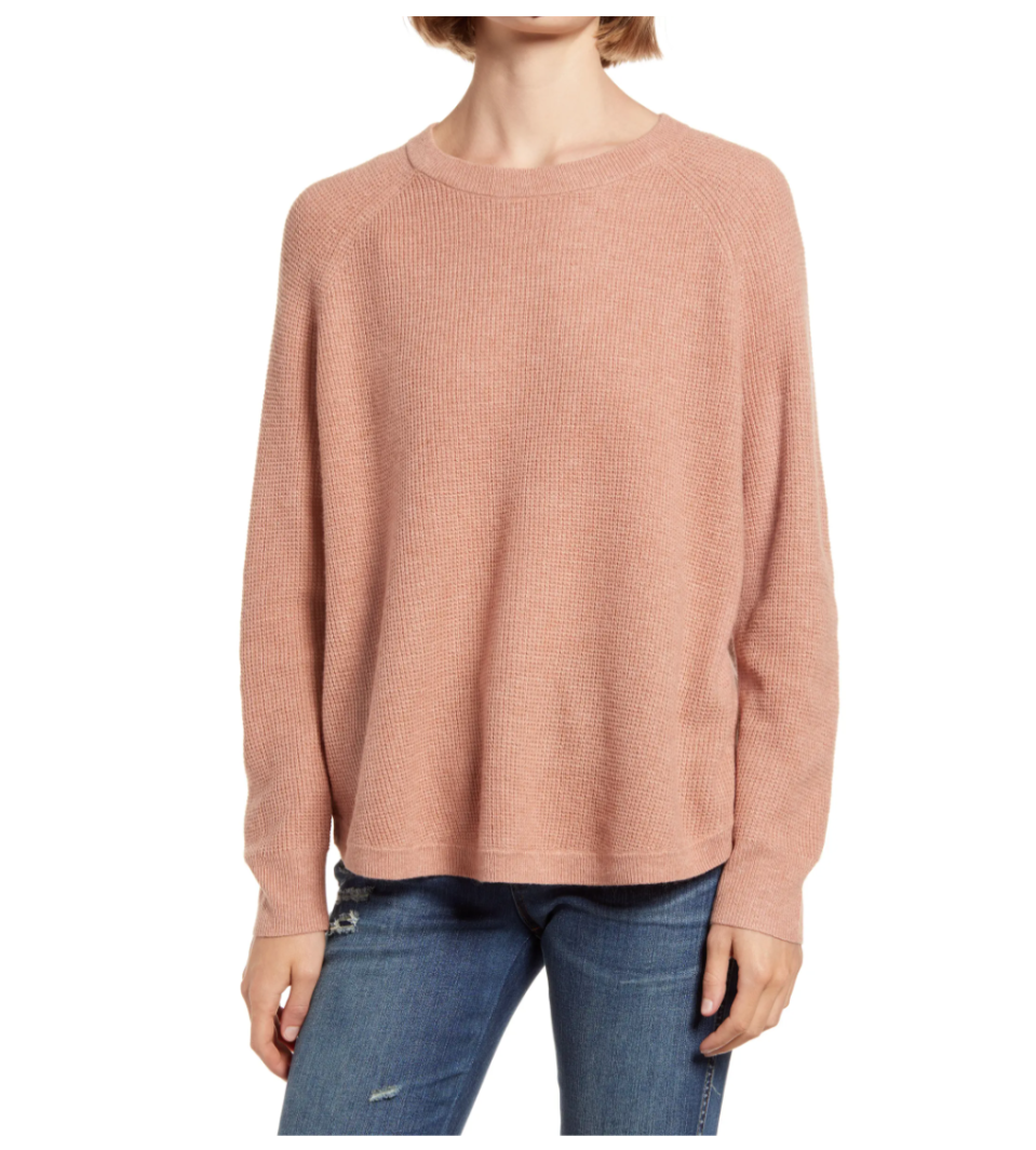 Madewell Jane Waffle Stitch Sweater. Image via Nordstrom.