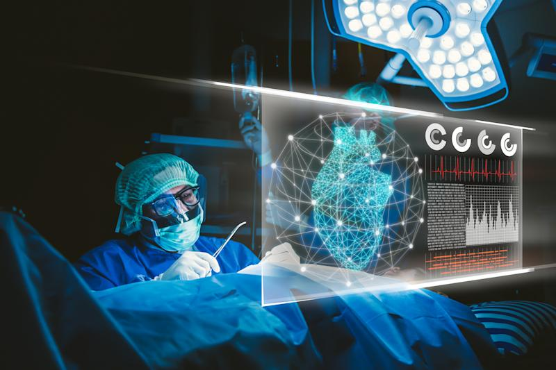 Digital Composite Image Of Doctor Working In Hospital