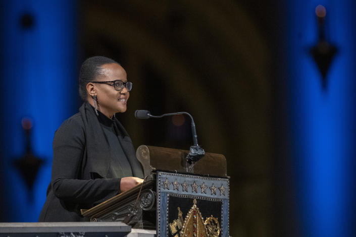 Author Edwidge Danticat speaks during the Celebration of the Life of Toni Morrison, Thursday, Nov. 21, 2019, at the Cathedral of St. John the Divine in New York. Morrison, a Nobel laureate, died in August at 88. (AP Photo/Mary Altaffer)