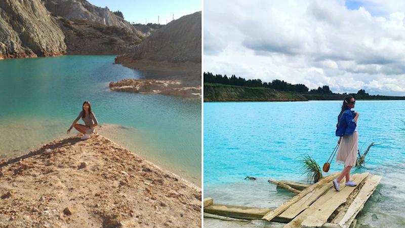 "Monte Neme, left, has been compared to the ""Siberian Maldives"", another toxic body of water Instagrammers lust over. Source: Instagram"