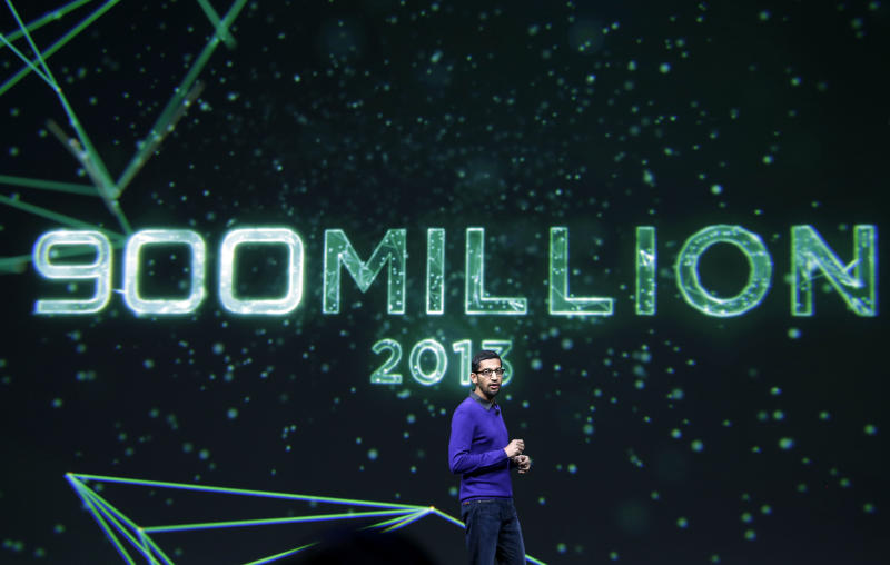 Sundar Pichai, senior vice president, Chrome and Apps at Google, speaks about the 900 million android users at Google I/O 2013 in San Francisco, Wednesday, May 15, 2013. (AP Photo/Jeff Chiu)