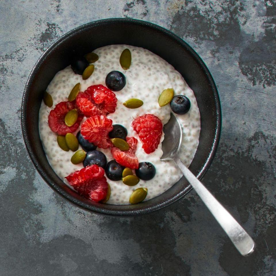 """<p>A great substitute for when you've grown tired of dessert oatmeal, this chia pudding will fill you up without sacrificing any sweet. Honestly, it doesn't have to be just dessert, either. It's breakfast- and light lunch-worthy, too. </p><p><strong><em><a href=""""https://www.prevention.com/food-nutrition/recipes/a34205128/coconut-chia-pudding-recipe/"""" rel=""""nofollow noopener"""" target=""""_blank"""" data-ylk=""""slk:Get the recipe from Prevention »"""" class=""""link rapid-noclick-resp"""">Get the recipe from Prevention »</a></em></strong> </p>"""