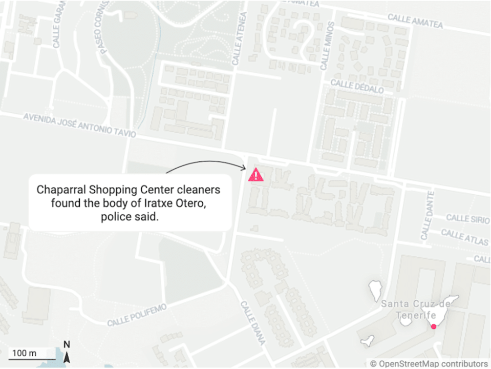 A map with a pink marker showing the location of Chaparral Shopping Center with a textbox reading: