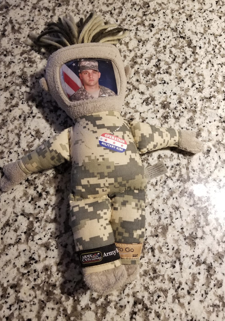 "A mom posted a photo of her child's lost military ""daddy doll"" asking the public for help (Credit: Facebook)"