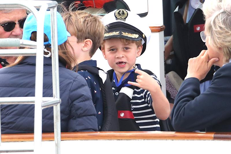COWES, ENGLAND - AUGUST 08: Prince George watches the inaugural King's Cup regatta hosted by the Duke and Duchess of Cambridge on August 08, 2019 in Cowes, England. Their Royal Highnesses hope that The King's Cup will become an annual event bringing greater awareness to the wider benefits of sport, whilst also raising support and funds for Action on Addiction, Place2Be, the Anna Freud National Centre for Children and Families, The Royal Foundation, Child Bereavement UK, Centrepoint, London's Air Ambulance Charity and Tusk. (Photo by Chris Jackson/Getty Images)