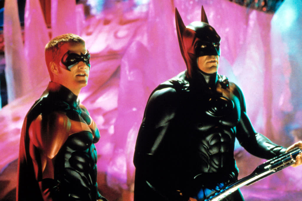 """<a href=""""http://movies.yahoo.com/movie/1800283691/info"""">BATMAN & ROBIN</a>   Contrary to popular belief, nipples on the Batsuit did not singlehandedly kill the 1990s Batman franchise. But there are so many things plaguing this film, there might as well be a scapegoat. Blame it on the Bat-nipples."""