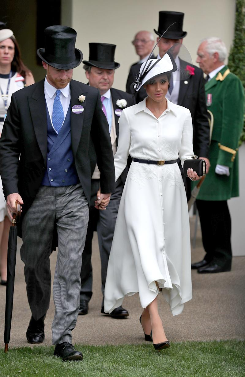 The Duke and Duchess of Sussex during day one of Royal Ascot at Ascot Racecourse.