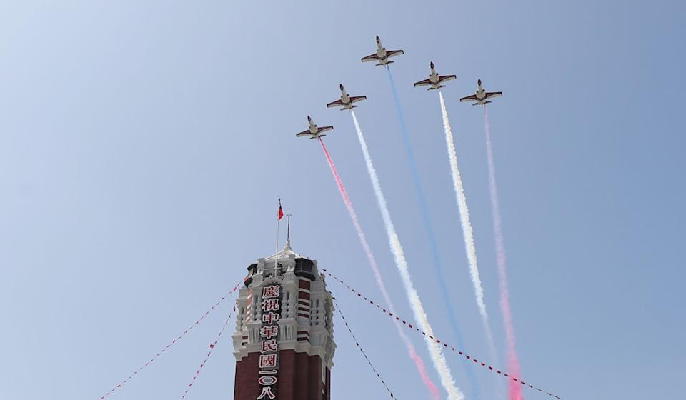 Taiwan Air force jets perform a flyby over Taipei. Photo: EPA-EFE