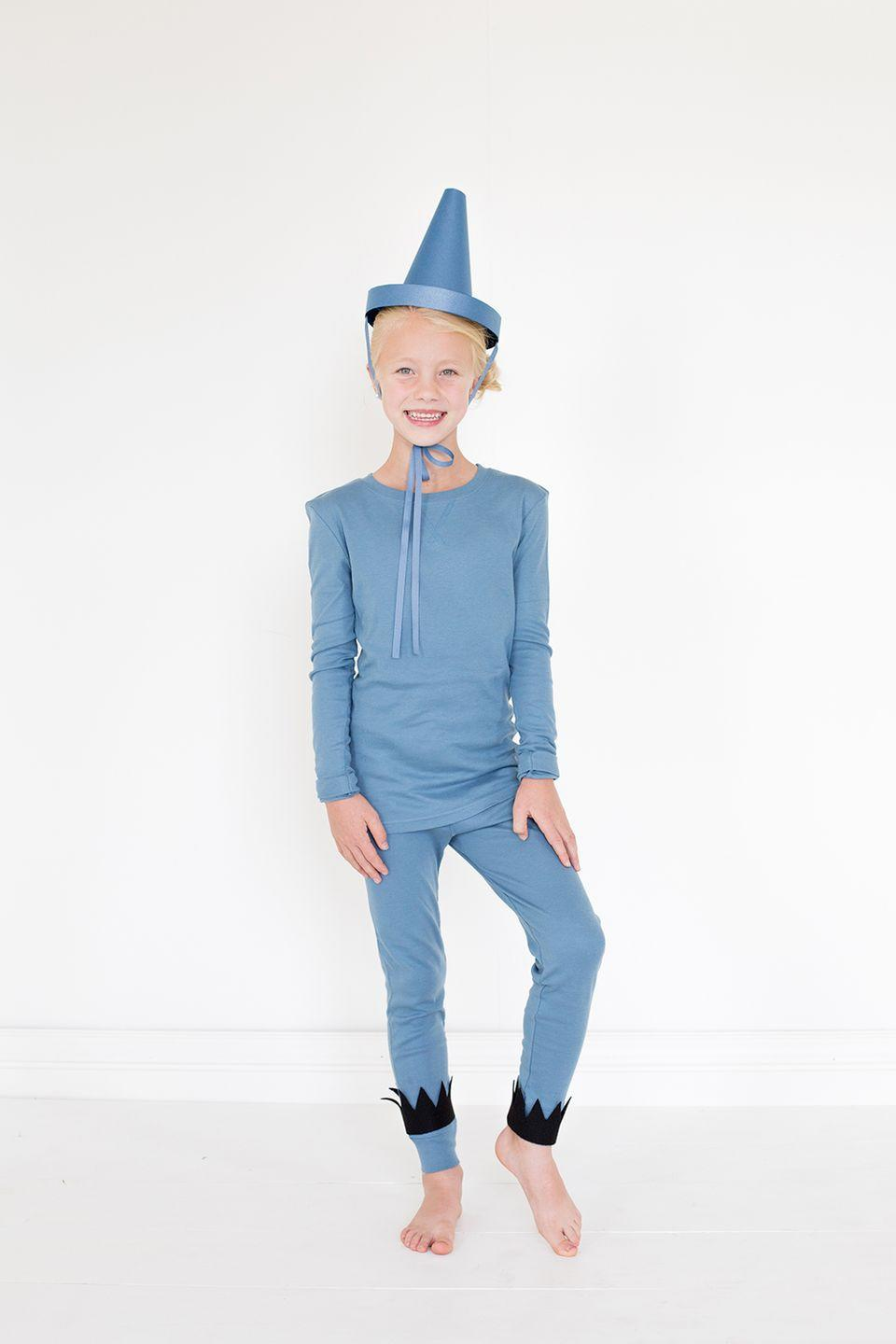 """<p>Inspired by children's novel <em>The Day the Crayons Quit</em>, this costume only requires a monochromatic pajama set and DIY hat. </p><p><strong>Get the tutorial at <a href=""""https://thehousethatlarsbuilt.com/2015/10/the-day-the-crayons-quit-costumes.html/#more-16403"""" rel=""""nofollow noopener"""" target=""""_blank"""" data-ylk=""""slk:The House That Lars Built"""" class=""""link rapid-noclick-resp"""">The House That Lars Built</a>. </strong></p><p><strong><a class=""""link rapid-noclick-resp"""" href=""""https://www.amazon.com/Springhill-Colored-Cardstock-147gsm-Sheets/dp/B009ZMIP8I/?tag=syn-yahoo-20&ascsubtag=%5Bartid%7C10050.g.23785711%5Bsrc%7Cyahoo-us"""" rel=""""nofollow noopener"""" target=""""_blank"""" data-ylk=""""slk:SHOP BLUE CARDSTOCK"""">SHOP BLUE CARDSTOCK</a><br></strong></p>"""