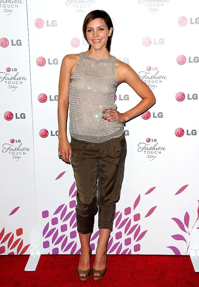 """""""Idol"""" alum Katharine McPhee pulled off a casual yet glam look with her Alice + Olivia beige embellished top and chocolate safari pants. Jordan Strauss/<a href=""""http://www.wireimage.com"""" target=""""new"""">WireImage.com</a> - May 24, 2010"""