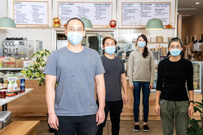From left, Yang's Kitchen owner Christian Yang, along with is staff, chef Steven Park, Maggie Ho and chef Elaine Chang.