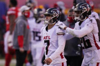 Atlanta Falcons place kicker Younghoe Koo (7) is consoled by teammate Isaiah Oliver after missing a 39-yard field goal during the second half of an NFL football game, Sunday, Dec. 27, 2020, in Kansas City. The Chiefs defeated the Falcons 17-14. (AP Photo/Jeff Roberson)