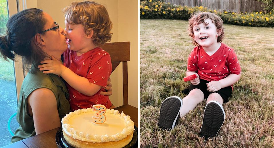 Photo shows James with a birthday cake and sitting on the grass.