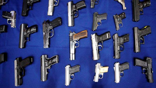 PHOTO: Seized handguns are pictured at the police headquarters in New York City, Aug. 19, 2013. (Eric Thayer/Reuters, FILE)