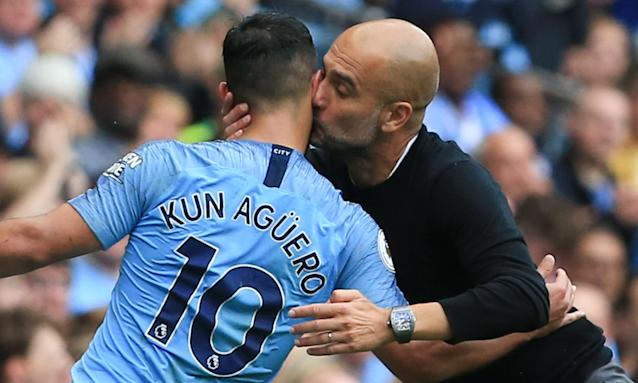 Pep Guardiola shows his appreciation after Sergio Agüero had scored a hat-trick in the 6-1 Premier League win against Huddersfield at the Etihad Stadium.