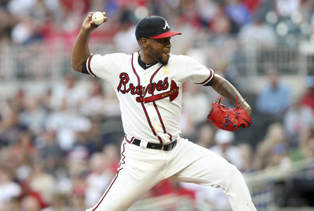 Atlanta Braves starting pitcher Julio Teheran throws against the Washington Nationals during the first inning of a baseball game Saturday, Sept. 7, 2019, in Atlanta. (AP Photo/Tami Chappell)
