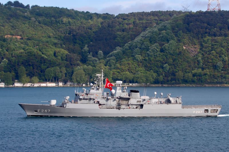 Turkish Navy frigate TCG Kemal Reis (F-247) is pictured in Istanbul's Bosphorus strait