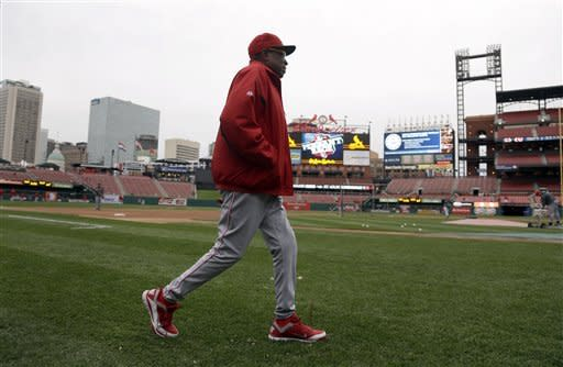 Cincinnati Reds manager Dusty Baker walks on the field to watch batting practice before a baseball game against the St. Louis Cardinals, Monday, Oct. 1, 2012, in St. Louis. Baker is back with his team after missing 11 games because of a mini-stroke, and will manage the team during the final series of the regular season. (AP Photo/Jeff Roberson)