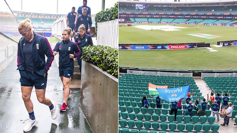 Pictured here, England's Women's T20 side walk off after their semi-final against India was abandoned.