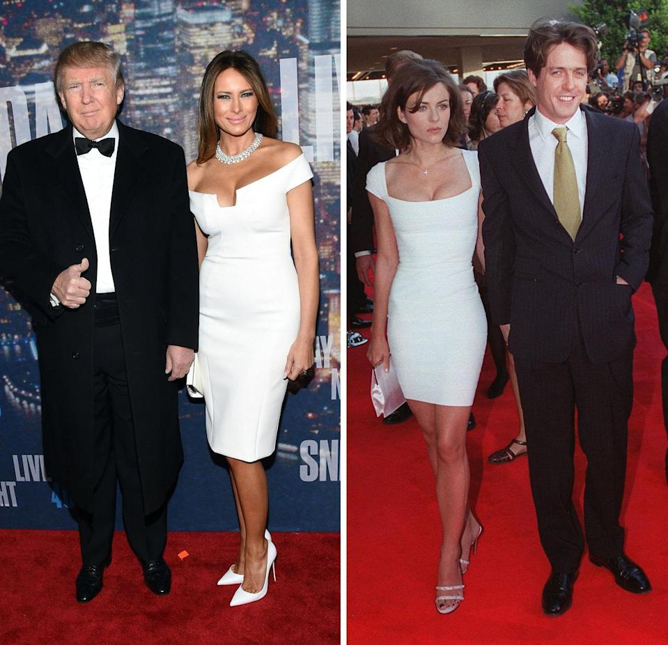 <p>Little white dresses can be tough to pull off—but neither Trump (here, with husband Donald) nor Hurley (with ex Hugh Grant) are intimidated. Both women's picks show off their hourglass figures and clavicles, plus some flaw-free cleavage, for good measure. <i>Photos: Getty</i></p>
