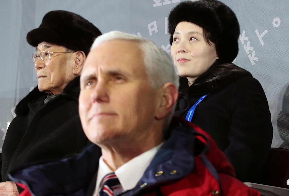 U.S. Vice President Mike Pence, North Korea's nominal head of state Kim Yong Nam, and North Korean leader Kim Jong Un's younger sister Kim Yo Jong attend the Winter Olympics Opening Ceremony. (Reuters)