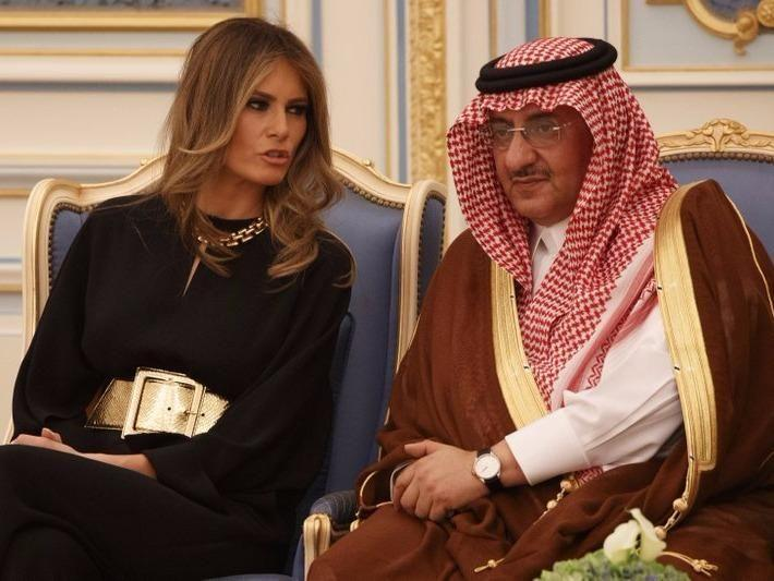 Melania chats to Saudi Crown Prince Muhammad bin Nayef. Source: AP