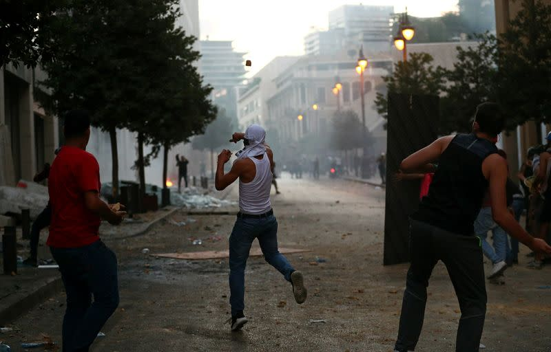 Protest following Tuesday's blast, in Beirut