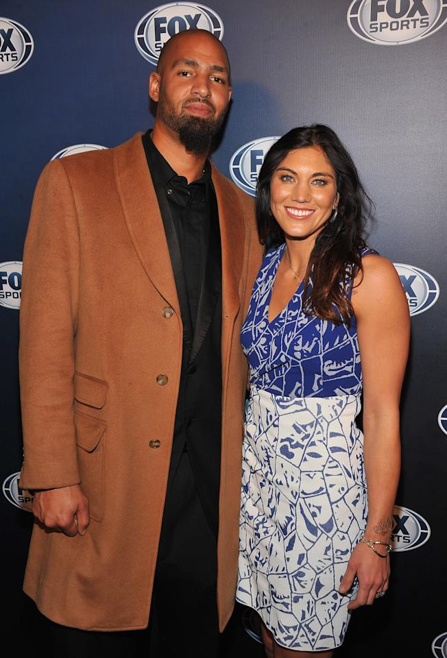 NEW YORK, NY - MARCH 05:  Jerramy Stevens and Hope Solo attend the 2013 Fox Sports Media Group Upfront after party at Roseland Ballroom on March 5, 2013 in New York City.  (Photo by Theo Wargo/Getty Images)