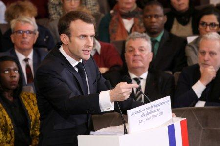 France's President Emmanuel Macron gives a speech to unveil his strategy to promote French language as part of the International Francophonie Day, before members of the French Academy and other guests, at the French Institute in Paris, France, March 20, 2018. Ludovic Marin/Pool via REUTERS
