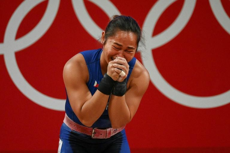 Philippines' Hidilyn Diaz is in tears after winning her country's first ever Olympic gold medal