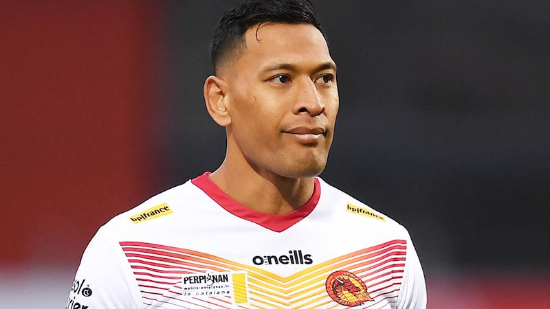 Israel Folau, pictured here in action for Catalans Dragons in the English Super League.