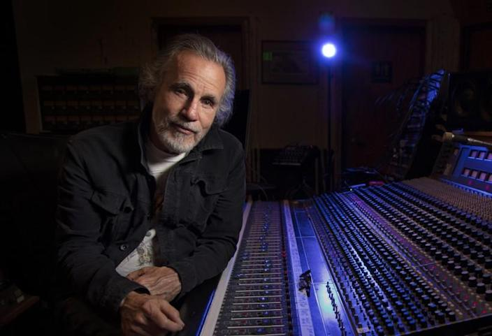 SANTA MONICA, CA - JULY 06, 2021 - Singer-songwriter Jackson Browne photographed in the control room of his studio, Groove Masters. (Ricardo DeAratanha / Los Angeles Times)
