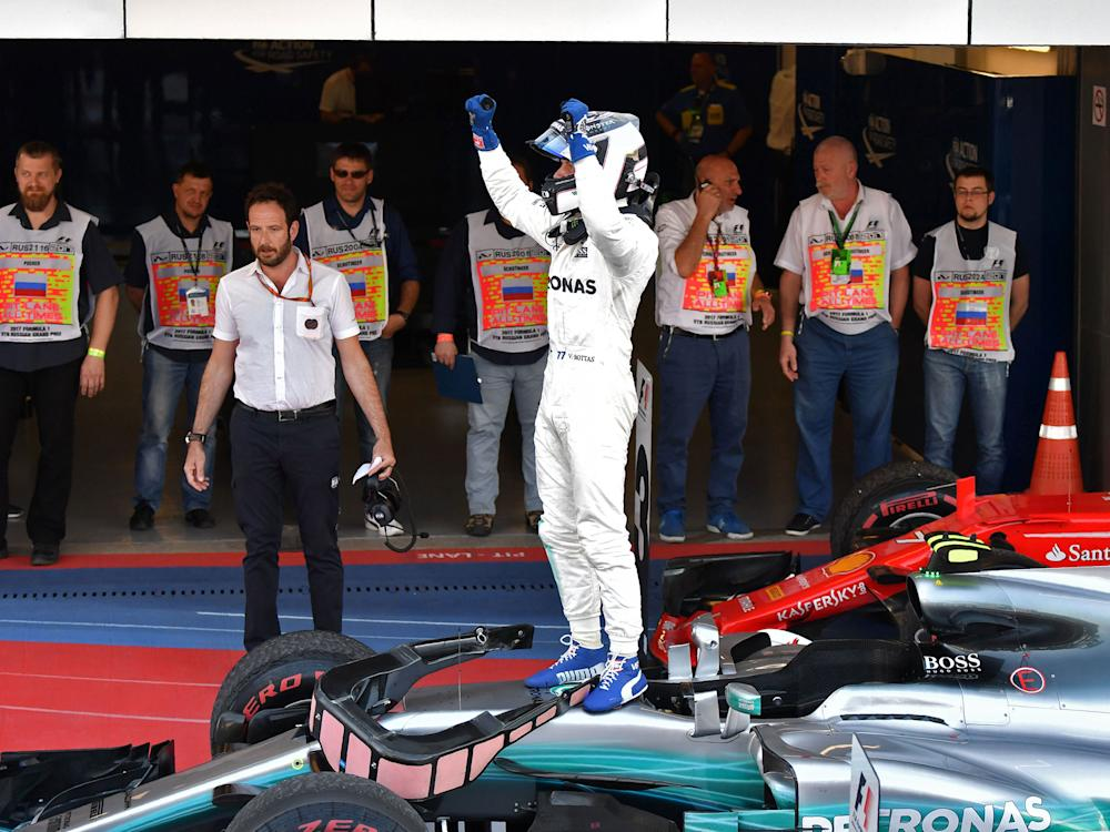 Bottas celebrates after claiming his first-ever F1 victory: Getty