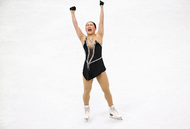 Figure Skating - World Figure Skating Championships - The Mediolanum Forum, Milan, Italy - March 23, 2018 Japan's Wakaba Higuchi reacts during the Ladies Free Skating REUTERS/Alessandro Bianchi TPX IMAGES OF THE DAY
