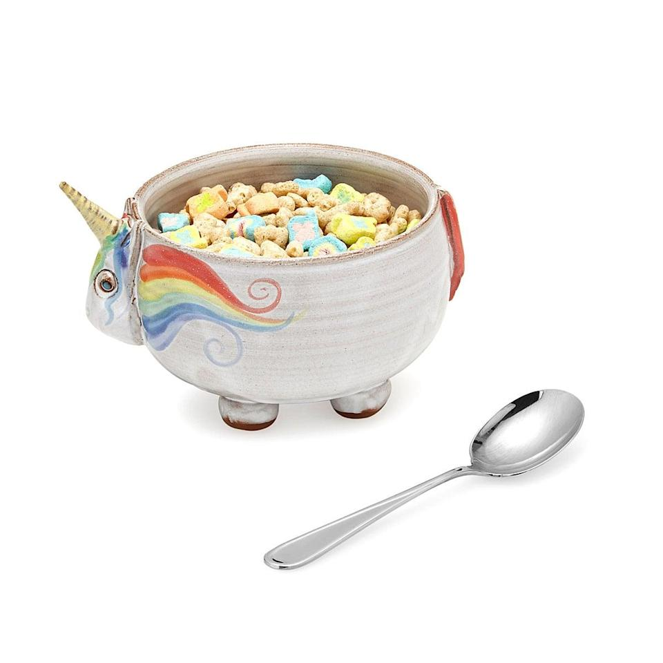 "<p>Your teen can scarf down their cereal in style with the <a rel=""nofollow noopener"" href=""https://www.popsugar.com/buy/Elwood%20the%20Unicorn%20Cereal%20Bowl-132441?p_name=Elwood%20the%20Unicorn%20Cereal%20Bowl&retailer=uncommongoods.com&price=42&evar1=moms%3Aus&evar9=45382611&evar98=https%3A%2F%2Fwww.popsugar.com%2Fmoms%2Fphoto-gallery%2F45382611%2Fimage%2F45382641%2FElwood-Unicorn-Cereal-Bowl&prop13=desktop&pdata=1"" target=""_blank"" data-ylk=""slk:Elwood the Unicorn Cereal Bowl"" class=""link rapid-noclick-resp"">Elwood the Unicorn Cereal Bowl</a> ($42) before running to catch the bus.</p>"