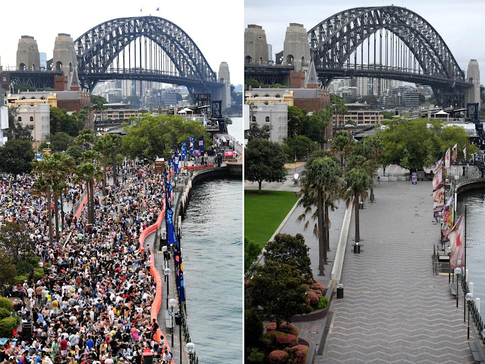 A composite image compares the New Year's Eve crowd size in 2019 and 2020 at Sydney's Circular Quay.