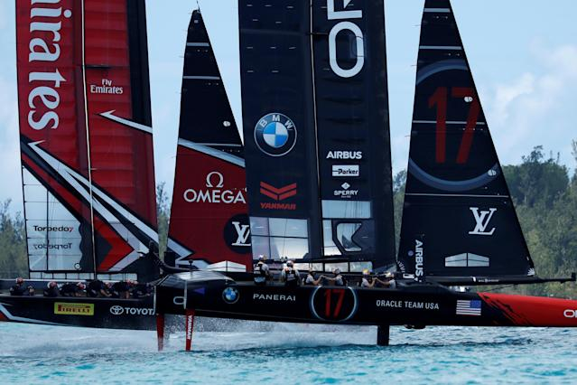 Sailing - America's Cup finals - Hamilton, Bermuda - June 26, 2017 - Oracle Team USA lead off the start line against Emirates Team New Zealand in race nine of America's Cup finals. REUTERS/Mike Segar